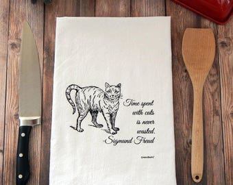Time spent with cats is never wasted flour sack tea towel - Cat Tea Towel
