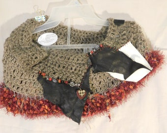 Crocheted Cowl Necklace with Leather