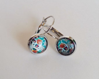 Sugar Skulls Earrings , Dia de Los Muertos Skulls , Cabochon Skulls Earrings , Day of the Dead Earrings , Frida Kahlo