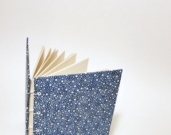 blue with white dots coptic bound writing journal - blue and white journal - hand bound lined journal - blue and white notebook - polka dots