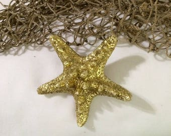 Gold Mermaid, Bridal, Tropical, Starfish hair clip