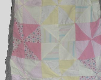 "Mixed Medium Hand Made Pin Wheel Baby Quilt. 30"" wide x 36"" long."