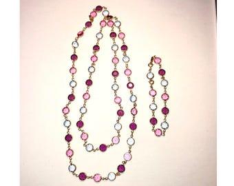 Swarovski Crystal Pink & Blue Bezel Set Necklace and Bracelet Set