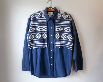 Men's Vintage Rockmount Ranch Wear Western Shirt, Pearl Snaps (M) Made in USA