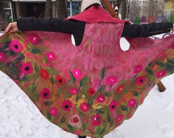 Round felted vest with silky pink flowers