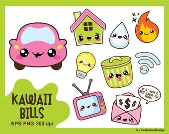 30% OFF, Kawaii clip art, bill due clipart, kawaii clipart, car clipart, bill clip art, garbage clip art, house clip art, Commercial use