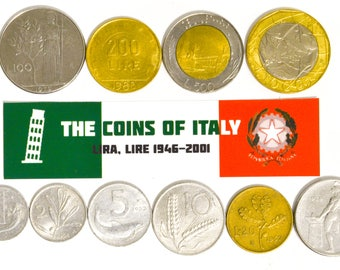 Italy Full Set of 10 Coins: 1, 2, 5, 10, 20, 50, 100, 200, 500, 100 Lire Lot Pre-Euro Italian Coin Collection