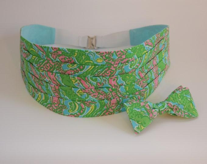 Men's Cummerbund & Bow Tie, green/pink/aqua Chomp Chomp Lilly alligator print, wedding party cummerbund set, tux accessory, prom cummerbund
