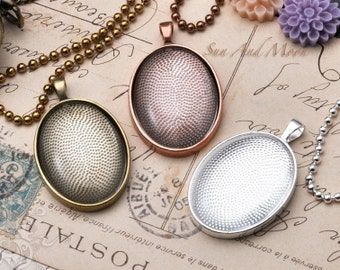 10 Large Oval Pendant Trays WITH Glass - 30x40mm Oval Pendant Blanks - Bezel Cabochon Settings - 3040T
