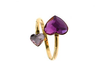 Adjustable ring with two hearts in pink and fuchsia zircons in silver 925 sterling, hypoallergenic, pink gold plated.