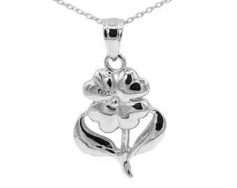 10k White Gold Flower Necklace