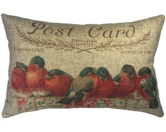 Red Birds Throw Pillow, Rustic Linen Lumbar Pillow, Cottage