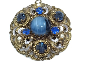 Czech West German Gold Blue Filigree Pendant, Blue Art Glass and Sapphire Rhinestones, Pearls White Enamel, 1940s Vintage Fashion Jewelry
