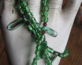 Green Glass Bead Necklace With small purple beads, 13 inches long