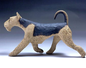 Original Airedale Terrier Ceramic Dog Sculpture striding out