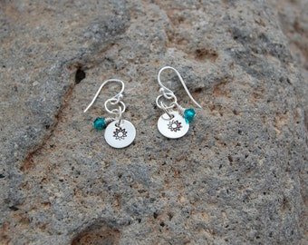 Sterling Silver Stamped Circle Earrings with crystal accent