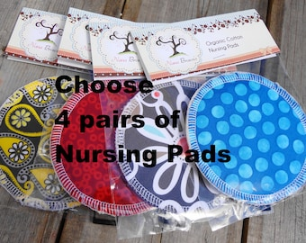 Reusable Nursing Pads, Organic Cotton Flannel & Waterproof Organic Cotton Flannel - 4 pairs
