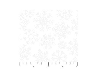 O Christmas Tree~Large Snowflakes/White Cotton Fabric By Northcott