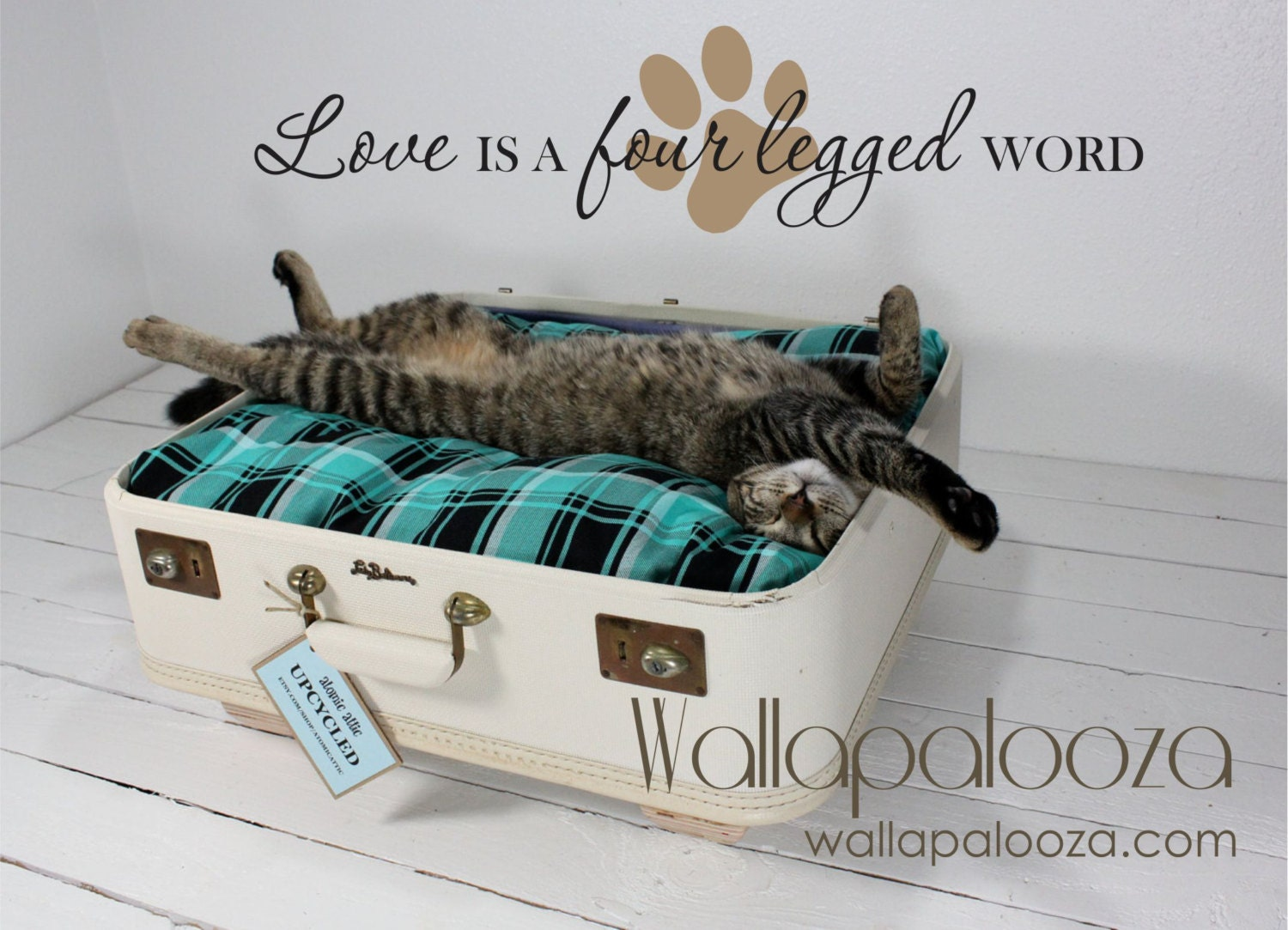 Pet wall decal love is a four legged word pet decal cat zoom amipublicfo Gallery