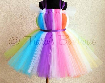 "Candyland Dreams Tutu Dress - Custom Sewn Rainbow Belted Tutu Dress - up to size 5T and 30"" long - Perfect for Birthdays, Halloween Costumes"