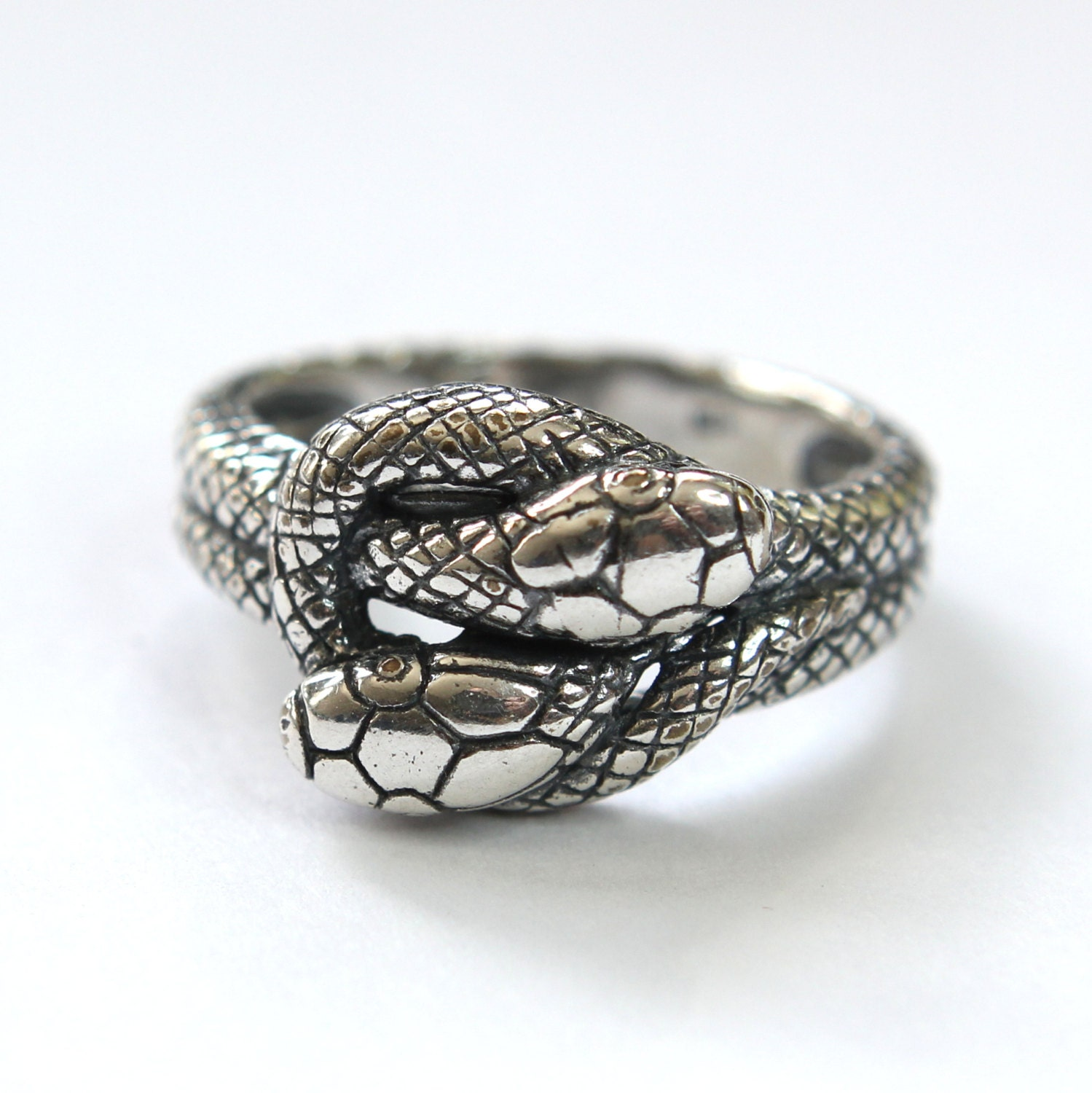 Silver Twin Snake Infinity Ring In Solid White Bronze With