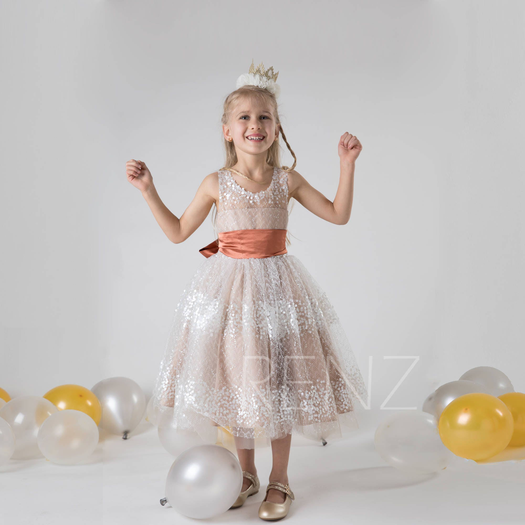 Flower girl dress pale khaki tulledresssequin puffy party zoom ombrellifo Choice Image