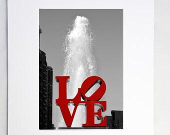 Love Park statue red Philadelphia LOVE fine art photo print matted