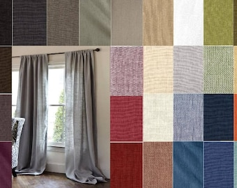 30 COLORS Custom Linen Drapery 2 Panels Pair Curtains 60 inches to Extra Long Two Story white gray blue brown rose green beige natural