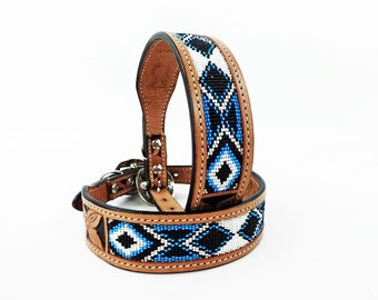 MadcoW Western Style Blue Hand Beaded Navajo Canine Leather Dog Collar HandMade Fully Adjustable