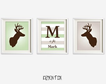 Deer Antler wall art - deer nursery art - kids wall art - Nursery Decor - name wall decor -  green deer wall print- initial wall art