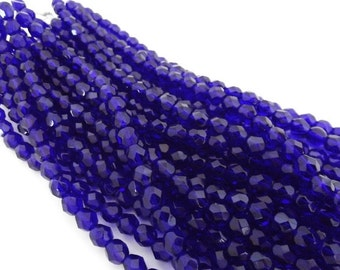Czech Beads, Cobalt Faceted Firepolished 6mm Beads - 25 beads