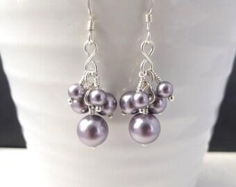 Purple Swarovski pearl earrings, silver and glass pearl