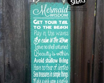 mermaid sign, mermaid decor, advice from a mermaid sign, mermaid decoration, mermaid wall decor, mermaid widsom, 69