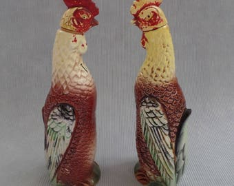 Vintage Rooster/ Chicken Oil & Vinegar Cruets, Shabby Kitchen Red Collectible Decor, Relco Made in Japan, Yellow Rustic Country Ceramics
