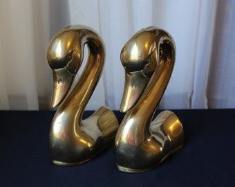 """2 Brass Gracious Swan Heads Bookends Book Ends 7"""" Tall Made in Korea Pair"""
