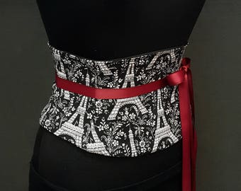 Eiffel Tower Corset Belt / Black and White Waist Cincher / Plus Sizes and Steel Boning Available / Obi Belt / Waspie Belt / Tight Lacing