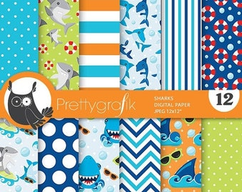 80% OFF SALE Sharks paper digital papers, shark commercial use, shark scrapbook papers, background - PS781