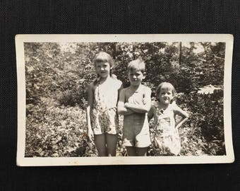 "Vintage Photograph, ""Three And The Trees"", Black and White Photography, Antique Photo, Found Paper, Scrapbook Ephemera"