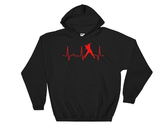 Cute Softball Hoodie - Softball Mom Hoodie - Softball Mom Gear - Red Softball Heartbeat - Softball Dad Gear - Fun Softball Sweatshirt