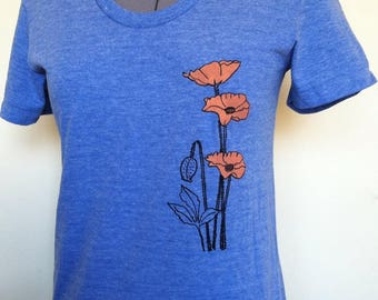 California Poppies, T Shirt, Slim Fit, Womens, Flower Shirt, Plant Lady, Poppy, Poppies, Gift for Her