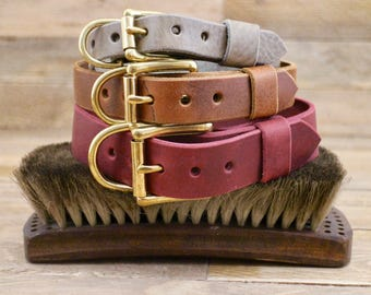 Adjustable collar, FREE ID TAG, Handmade leather collar, Dog collar, Collar, Gold hardware, Solid brass buckle, Classic collar, Grey