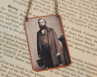 Literature necklace George Perkins Marsh mixed media jewelry literature literary