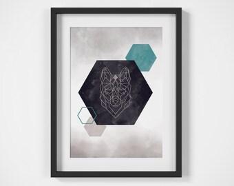 Geometric Wall Art, Aztec Wall Decor, Scandinavian Poster, Turquoise Wall Decor, Wolf Print, Printable Wall Art, Geometric Print, Wolf Art