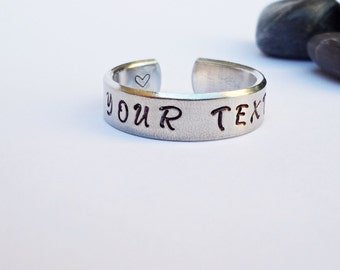 Custom Ring - Personalized Ring - Adjustable Ring - Handstamped Ring - Girlfriend Gift - Aluminum Ring - Adjustable Ring - Valentine Gift