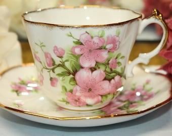 "SALISBURY Bone China Teacup and Saucer Set ""Cherry Blossoms"""