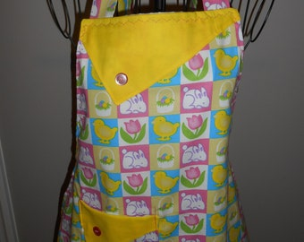 Easter Eggs and Chicks- Women's Apron - Easter Bunny - Flowers - Pocket - Ruffle Easter Basket