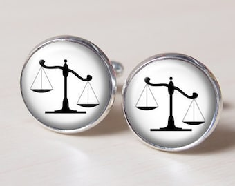 Vintage Scales of justice Cufflink, Law Students, Lawyer and Judge, legal and Libra, silver Antique cufflinks