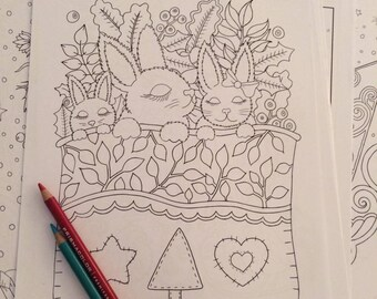 Sleepy Rabbits Coloring Pages