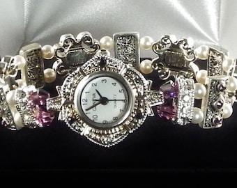 Amethyst and Pearl Stretch Watch with Swarovski Crystals