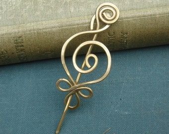 Little Celtic Budding Spiral Lace Shawl Pin, Scarf Pin, Sweater Brooch - Brass Pin, Knitters Celtic Accessory, Knitting Gift for Women